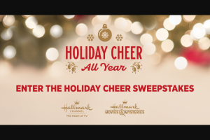 Dish Network – 2018 Hallmark Holiday Cheer All Year – Win consists of an in-home 4-course dinner party for up to twelve people with a private chef and bartender and one copper stainless martini bartender set