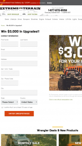 Extreme Terrain – $3000 For Your Wrangler Giveaway – Win $3000.00 in credit to use for the purchase of any Jeep Wrangler parts and accessories available at extremeterraincom