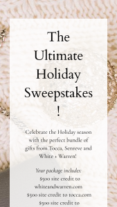 Fine Gauge – Holiday Gifting – Win value of $1500) Celebrate the Holiday season with the perfect bundle of gifts from Tocca Senreve and White  Warren