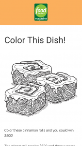 Food Network Magazine – December 2018 Color This Dish Contest – Win a $500 check (Total ARV $500).