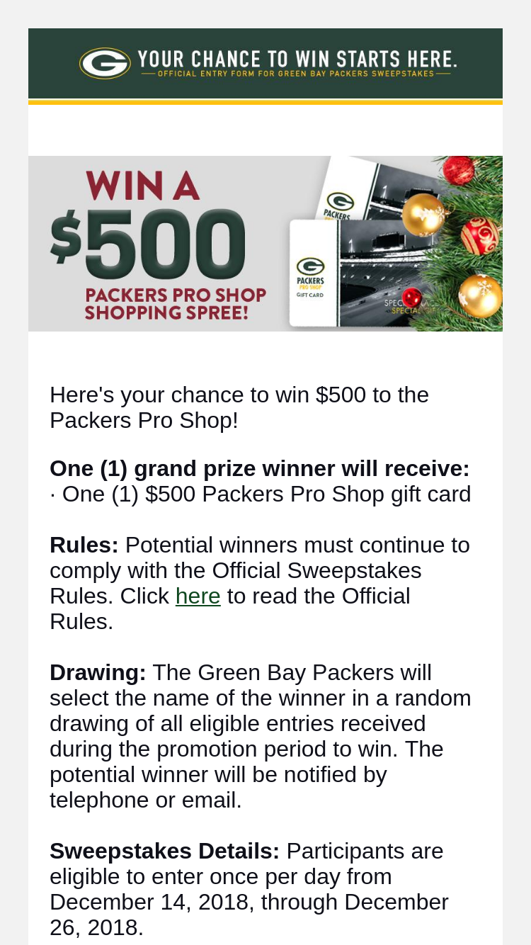size 40 14eb2 6193c Green Bay Packers – 2018 Holiday Shopping Spree – Win ...
