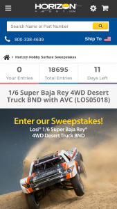 Horizon Hobby – Losi Super Baja Rey Bnd – Win a 1/6 Super Baja Rey 4WD Desert Truck BND with AVC (LOS05018) with the Approximate Retail Value of $749.99.