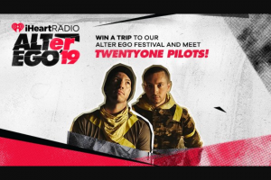 Iheart – Trip To Our Alter Ego Festival And Meet Twentyone Pilots – Win and one eligible guest to attend iHeartRadio ALTer Ego '19.