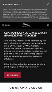 Jaguar Land Rover – Unwrap A Jaguar – Win consists of one 2019 Jaguar E-PACE SE (P250 AWD (Gas)) vehicle