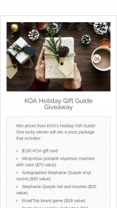 Kampgrounds Of America – Koa Holiday Gift Guide Giveaway Sweepstakes