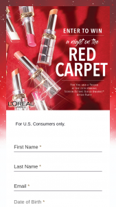 L'oreal Paris – A Night On The Red Carpet With L'oreal Paris Sweepstakes