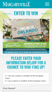 Margaritaville – Take Me To Orlando Giveaway Sweepstakes