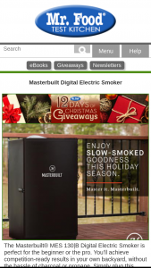 Mr Food – Masterbuilt Electric Smoker Giveaway – Win a MES 130|B Digital Electric Smoker by Masterbuilt® (retail value of $229.99)