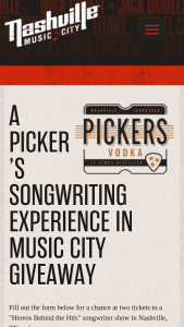 Nashville Convention & Visitors Corp – Heroes Behind The Hits Songwriter Sweepstakes