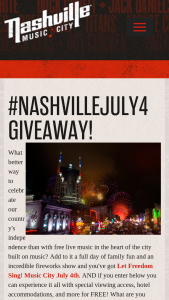 Nashville Convention & Visitors Corp – #nashvillejuly4 Giveaway – Win of  • Two (2) Night hotel accommodations at Cambria Nashville Hotel on July 4 and 5 2019.