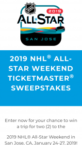 NHL – All-Star Weekend Ticketmaster Sweepstakes