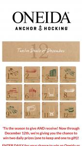 Oneida – Twelve Deals Of December Sweepstakes