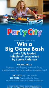 "Party City – Bring The Party Home – Win visit your home on Saturday February 2 2019 (pending availability) to prepare football snacks for the ""big game"" for winner and up to four (4) guests (the ""Event"")."