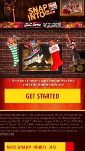 Slim Jim – Snap Into The Season – Win (15) total prizes available