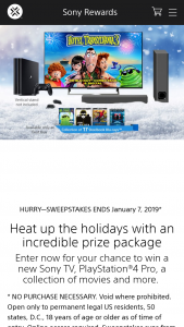 Sony Electronics – December Best Of Sony Sweepstakes