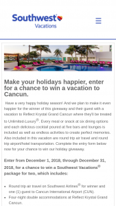 Southwest – Vacation To Cancun December Sweepstakes