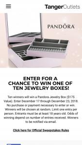 Tanger Outlet Centers – Pandora Giveaway – Win win a pandorawin a pandora