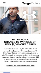 Tanger Outlet Centers – Under Armour – Win two (2) Under Armour gift cards in the amount of five hundred dollars each ($ 500.00 USD)