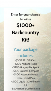 The Dyrt – $1000 Backcountry Camping Kit Giveaway – Win value of $1150) Win a backcountry kit with backpacks weather radios freeze-dried food coffee and compasses