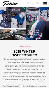 Titleist – 2018 Winter Sweepstakes