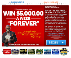 PCH Publishers Clearing House – Instantly Win Five Thousand Dollars ($5,000.00) Cash or Three Hundred Sixty (360) Ten Dollar ($10.00) Amazon.com Gift Card