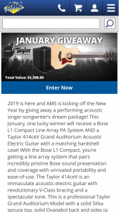 American Musical Supply – January Giveaway Sweepstakes