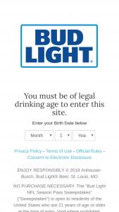 Anheuser-Busch – Bud Light Nfl Season Pass Sweepstakes