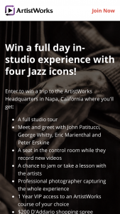 Artistworks – Big Giveaway With Four Jazz Icons Sweepstakes