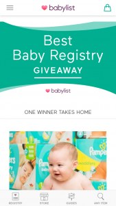 """Babylist – Best Baby Registry Giveaway – Win one """"Best Baby Registry Giveaway"""" package which includes  One year supply of Pampers diapers and wipes"""