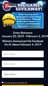 Boyer's – Big Game 2019 Giveaway Sweepstakes