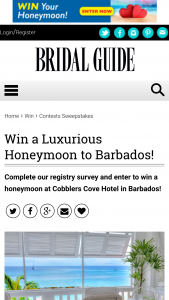 Bridal Guide – March-April 2019 Registry Survey Sweepstakes