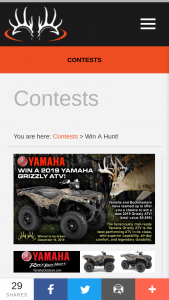 Buckmasters – 2019 Yamaha Grizzly Atv – Win a prize package consisting of one (1) utility ATV Grizzly eps