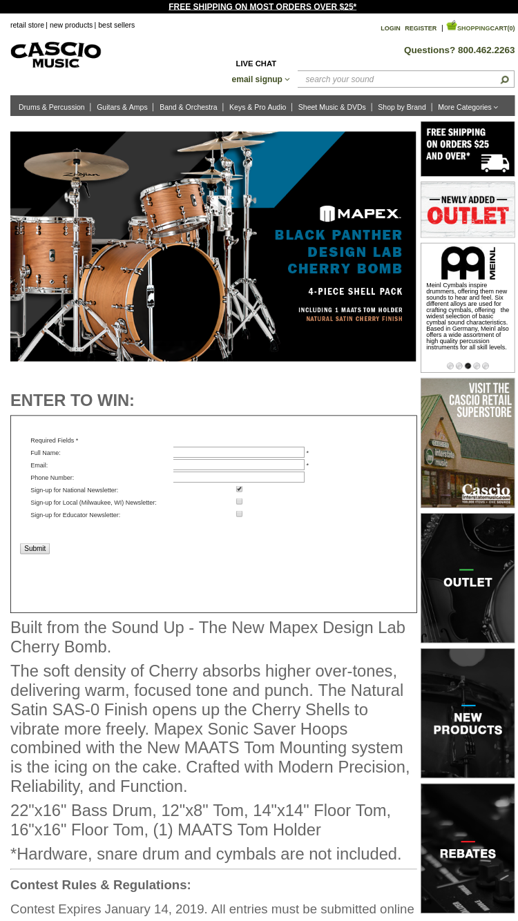 Cascio Mapex Black Panther Design Lab Drums Sweepstakes