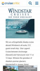 Cruise Critic Independent Traveler – Cruise Alaska With Windstar Sweepstakes