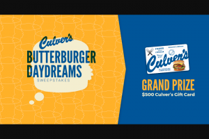 Culver's – Butterburger Daydreams – Win $500.00 in Culver's Gift Cards