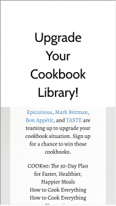 Epicurious – Win A Cookbook Library Sweepstakes