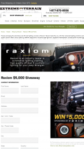 Extreme Terrain – $5000 Raxiom Giveaway – Win $5000.00 in credit to use for the purchase of any parts and accessories available at extremeterraincom