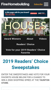 """Fine Homebuilding – 2019 Reader's Choice Awards – Win will consist of the following a $500 """"shopping spree"""" in the Taunton Press online store"""