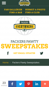 Green Bay Packers – 2019 Packers Pawty – Win one Green Bay Packers Pet Pillow Bed