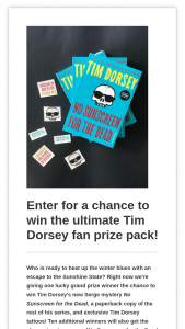 Harpercollins – No Sunscreen For The Dead Sweepstakes