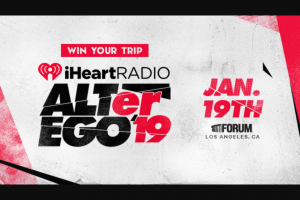 Iheart – Vip Trip To Our Iheartradio Alter Ego – Win a trip for two between January 18 and January 20 2019 for the grand prize winner and one eligible guest to attend the 2019 iHeartRadio ALTer EGO on January 19 2019.