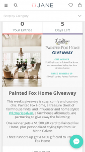 Janecom – Painted Fox Home Sweepstakes