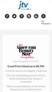 Jewelry Television – Jtv's American Beauty Star – Win any other form of compensation if actual travel costs are less than the estimate made in these Official Rules
