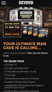 Kraft Heinz Foods – Devour Ultimate Man Cave Sweepstakes