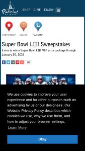 Kraft Patriots – Super Bowl Liii Sweepstakes