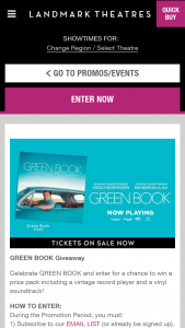 Landmark Theaters – Green Book Giveaway – Win Record Player (est ARV $500.00) and one (1) GREEN BOOK vinyl soundtrack record (est ARV $40.00).