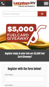 Lazydays Rv – Fuel Card – Win (1) $5000 Gift Card
