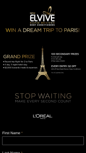 L'oreal Paris – Elvive #stopwaiting – Win (1) Sweepstakes Grand Prize will be awarded consisting of a trip for two (2) (winner and one (1) guest) to Paris France
