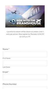Los Angeles Rams – Ride With The #ramshouse – Win a one night trip (arriving February 3 2019 and leaving February 4 2019) to Atlanta