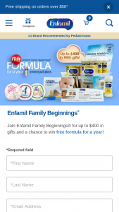 Mead Johnson & Company – Enfamil Family Beginnings Formula For A Year – Win awarded each month during the  Period